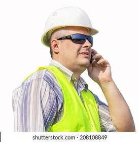 Worker with cell phone on a white background
