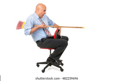 worker in a chair jousting with a broom