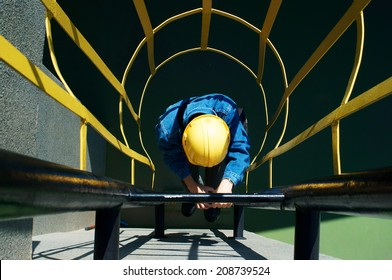 worker climbing in safety stair