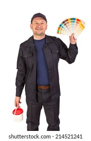 Worker with color samples. Isolated on a white background.