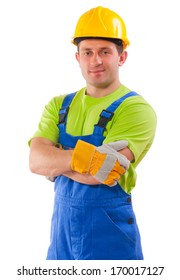worker with crossed arms over white