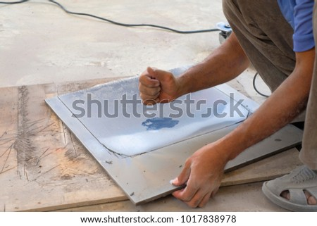 Worker Cutting Floor Tiles Angle Grinder Stock Photo Edit Now