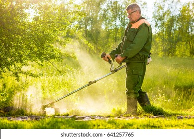 worker cutting grass in garden with the weed trimmer