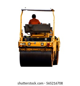 worker driving roller construction on white background