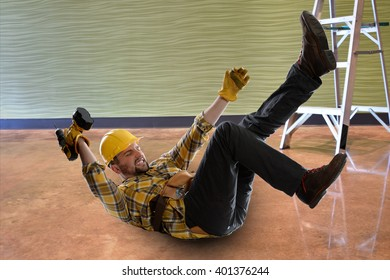 Worker embraces himself as he falls off of ladder.