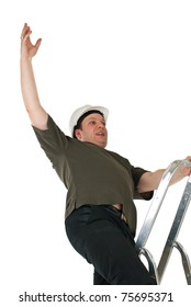 Worker fall from a ladder. Isolated on white background.