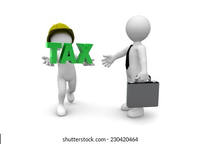 Worker giving tax isolated on white background