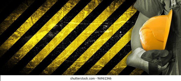 Worker and grunge texture in background. Concept of OSH (occupational safety and health)
