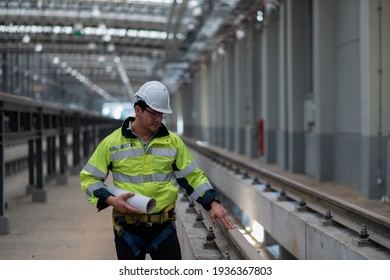 Worker in hand hold check sheet inspection job. Worker work in factory.