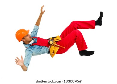 Worker with hard hat falling from ladder isolated