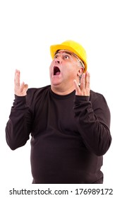 Worker with hard hat screaming isolated on white background