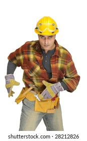 Worker with hat and tools isolated in white