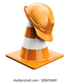 Worker helmet and traffic cone