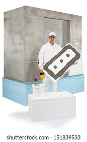 Worker holding an insulation panel coated with a lute
