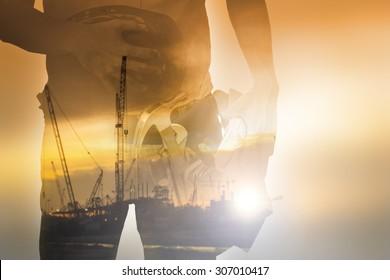 Herramienta de retención de trabajadores con horario de luz durante el Día del Trabajo, doble exposición