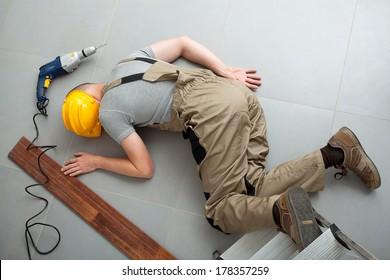 A worker injured during a bones braking fall