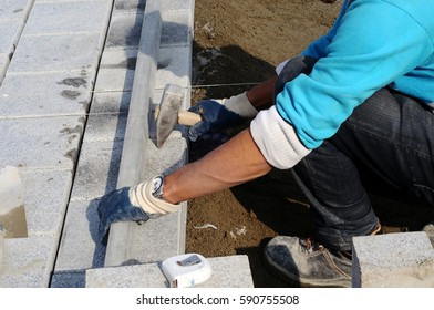 Worker installs paving slabs in the courtyard (paving)
