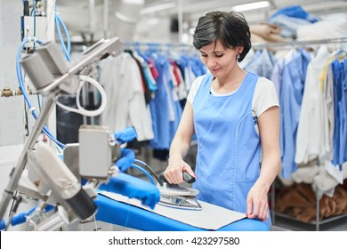 Worker Laundry ironed clothes iron dry
