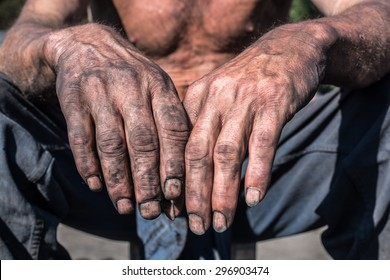 Worker Man with Dirty Hands. Worker Hands.