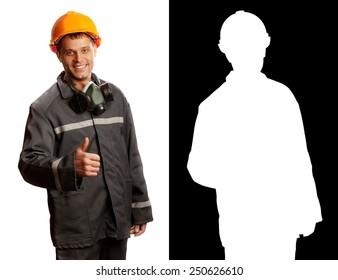 Worker man isolated on white (with clipping mask)