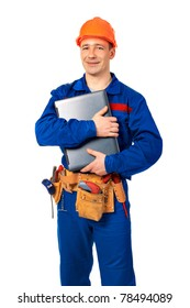 Worker man with laptop in workwear against white