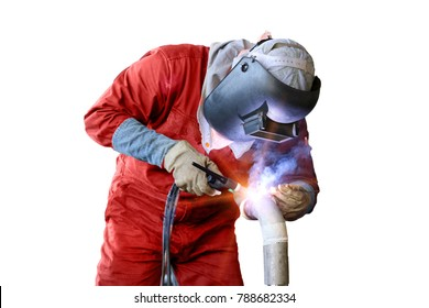 worker man welding piping isolated on white background