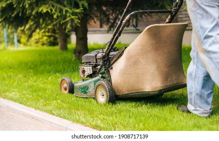 Worker mows the lawn with a lawn mower. Mowing the lawn in the garden.