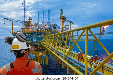 worker and offshore rig background.