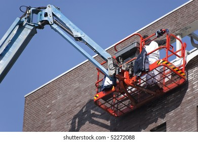 Worker on aerial access platform