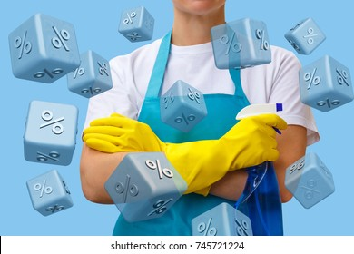 Worker on the background of falling interest rates. The concept of a discount on cleaning services.