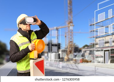 A Worker on Construction site with VR glasses smart city