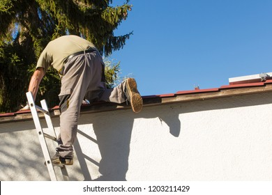 Worker on a ladder