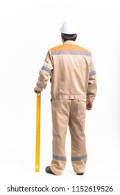 Worker on a white background in overalls, isolated