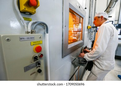 Worker operating in a factory for the treatment of hard radioactive waste at the Chernobyl nuclear power plant in Ukraine. February 2015