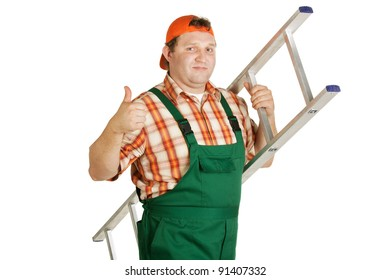 Worker in overalls and orange baseball cap with aluminum ladder