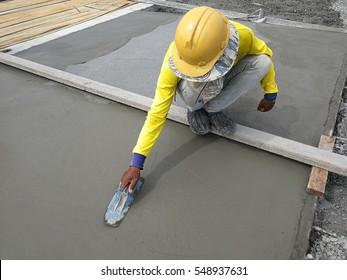 Worker Plastering mortar