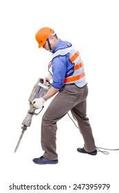 worker with pneumatic hammer drill equipment isolated on white