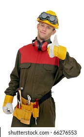 Worker posing isolated in white