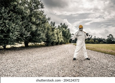 Worker protecting a road