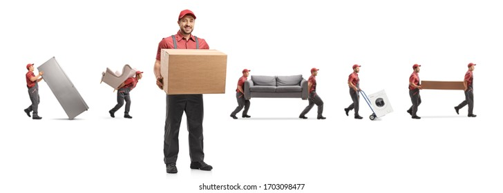 Worker from a removal company carrying home appliences and furniture isolated on white background