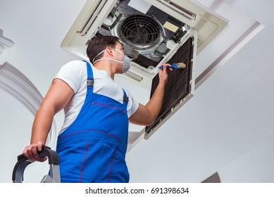 Réparation de l'unité de climatisation du plafond