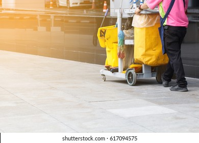 Worker service cleaning with janitorial  interior