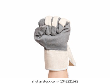 Worker showing gesture - fist. Male hand wearing working glove, isolated on white background.