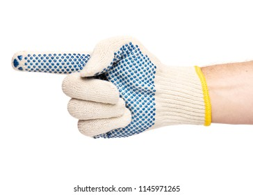 Worker showing gesture - pointing to the left. Male hand wearing working cotton glove with blue rubber dots, isolated on white background.