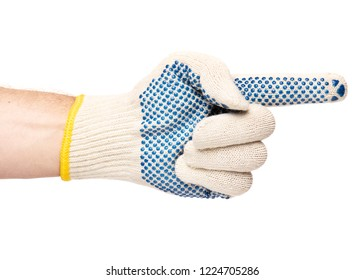 Worker showing gesture - pointing to the right. Male hand wearing working cotton glove with blue rubber dots, isolated on white background.