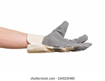 Worker showing outstretched palm gesture - offering or begging concept. Male hand wearing working glove, isolated on white background.