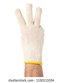 Worker showing three fingers up gesture. Male hand wearing working cotton glove, isolated on white background.