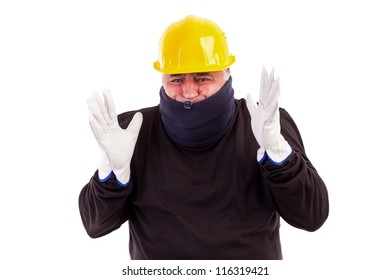 Worker suffering cold with arms up isolated on white