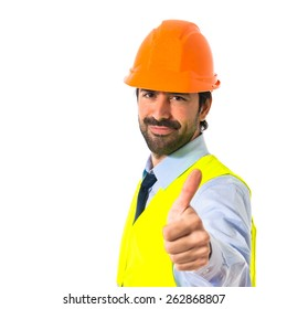 worker with thumb up