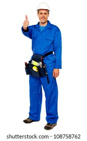 Worker with tools bag showing thumbs up standing against white background